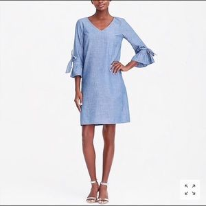 J. Crew chambray tie sleeve denim shirt dress